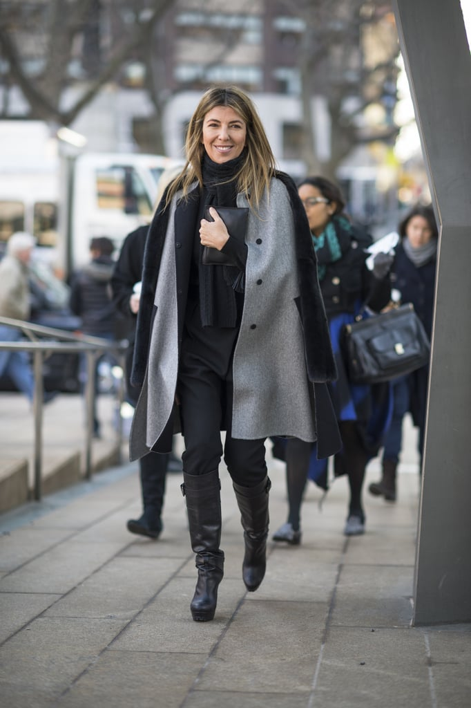 Nina Garcia looked easy — and still polished — arriving at the tents in a gray coat and knee-high boots. Source: Le 21ème | Adam Katz Sinding