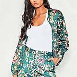 Missy Empire Felicia Green Satin Floral Bomber Jacket