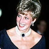 Diana's sapphire choker Diana's second most famous sapphire was given to her by the Queen Mother as a wedding present. The whopping stone, surrounded by diamonds, was originally a brooch, and Diana wore it several times before having it converted into the centerpiece for a seven-strand pearl choker.