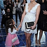 Jennifer Lopez arrived at Chanel's show with daughter Emme.