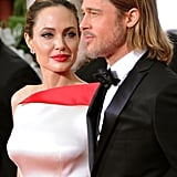 Angelina Jolie couldn't keep her eyes off of Brad Pitt at the 2012 Golden Globe Awards.