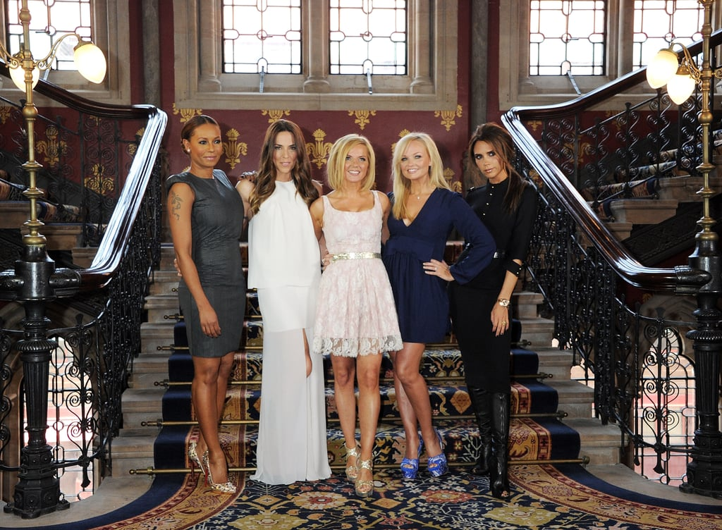 "Victoria Beckham joined the rest of the Spice Girls in London today to confirm the upcoming musical Viva Forever!, which will feature their music and debut on the West End later this year. The Spice Girls haven't all been pictured together since the end of their reunion tour in 2008 and the location of this afternoon's press conference, the St. Pancras Renaissance London Hotel, has special historical meaning for them since it's where they shot their ""Wannabe"" music video in 1996. Victoria tweeted her excitement about reuniting with Melanie Brown, Melanie Chisholm, Geri Halliwell, and Emma Bunton.  The website for Viva Forever! also launched today and contains a new description of what fans can expect come Dec. 11, saying, ""As one girl follows her dreams, Viva Forever! charts her journey into the world of overnight celebrity and its impact on her mother and the friends she thought she'd have forever. From London to Spain and back again, as the world judges you, it's all about who you really are and who you want to be, whatever the cost."""