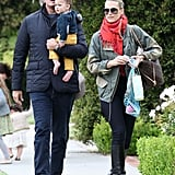 Molly Sims and her husband, Scott Stuber, took their son, Brooks, to a party at Rachel Zoe's house in LA.