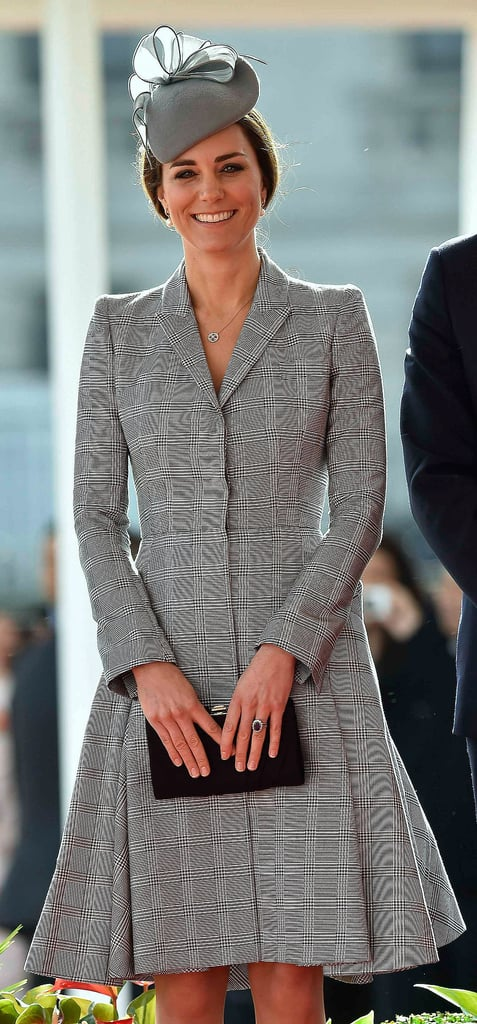 For her first appearance after announcing her second pregnancy, Kate opted for a tailored Alexander McQueen coat dress and accessories by Jenny Packham.
