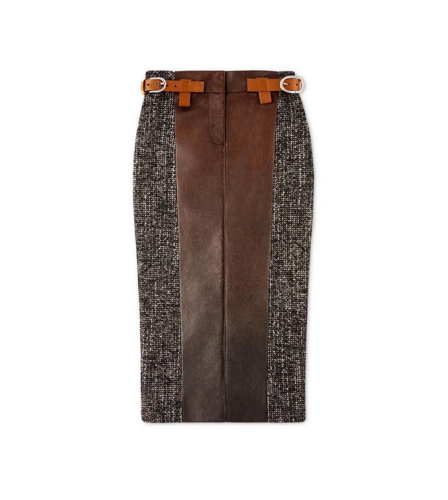 Couture Tweed Mini Skirt With Front Leather Panel ($2,350)
