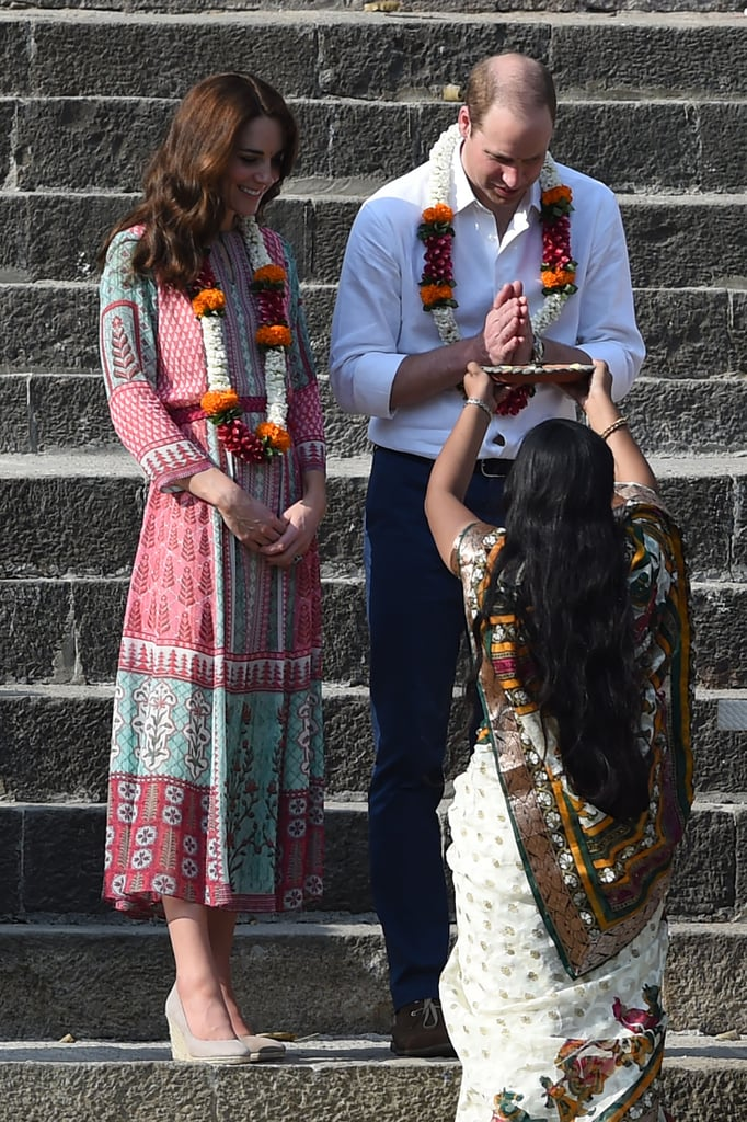 It's only day one of Kate Middleton and Prince William's brand-new overseas royal tour, and the duchess is already proving her skills in fashion diplomacy. For a series of engagements in Mumbai, India, today that included visiting with cricketers — and even trying out the game herself — Kate selected a gorgeous, multicoloured gown from a local designer. The piece was by designer Anita Dongre, whose brand was thrilled about the duchess's choice and shared many images of the piece on Facebook. The dress, a Jaipur-inspired tunic, is available to shop online. It looks as though Kate's own dress was modified from the brand's version to be slightly shorter, allowing Kate to show off a pair of her beloved wedge espadrilles.