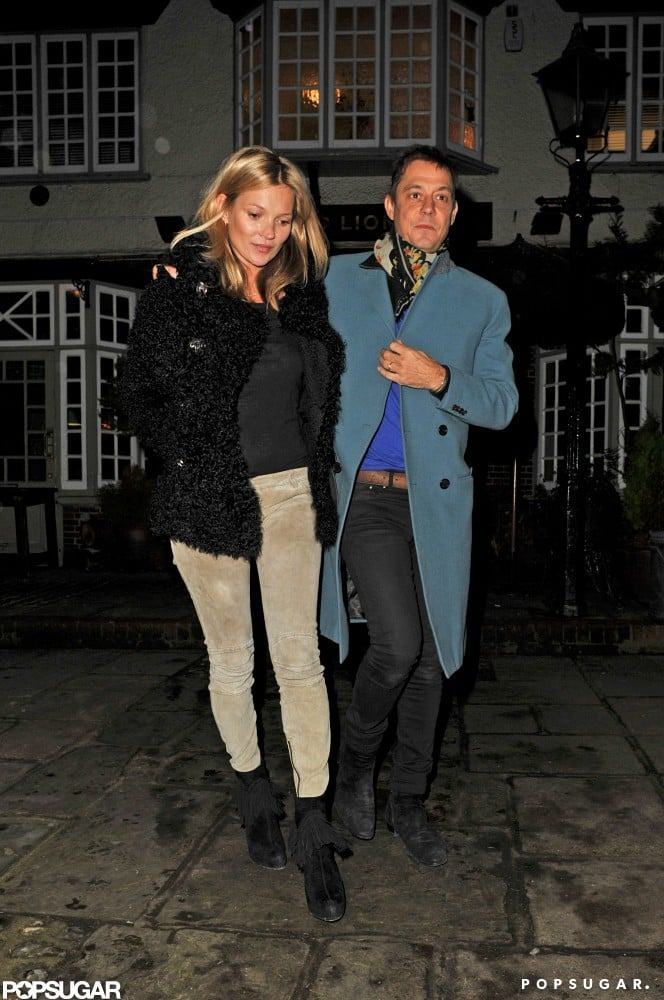 Kate Moss kept it casual for her birthday Wednesday night in London.