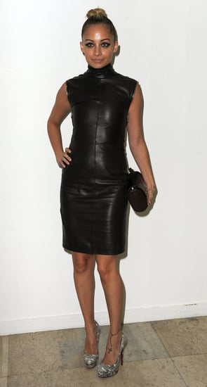 Nicole Richie in a Leather Dress at Paris Fashion Week