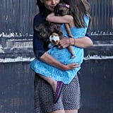 Katie Holmes and Suri Cruise at a heliport in NYC.