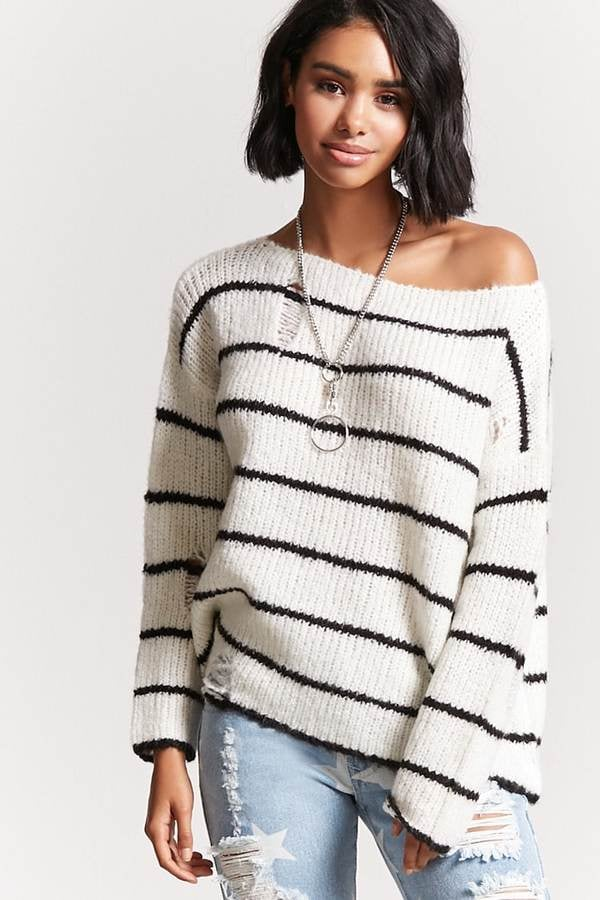 Forever 21 Striped Open Knit Sweater Cheap Fall Wardrobe