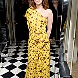 Emma Stone wore a one-shouldered print to the W magazine Globes preparty.