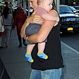 Jennifer Garber and baby Samuel arrived at a hotel in the Big Apple.