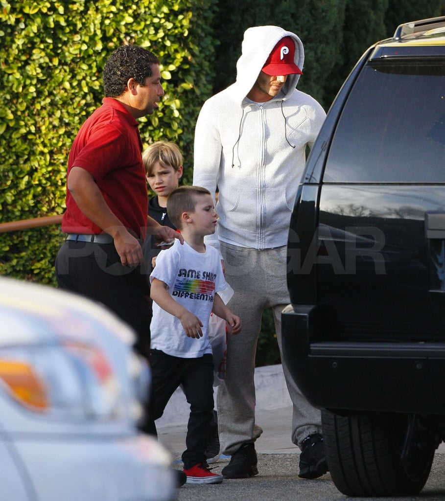 David Beckham took his two youngest sons, Romeo and Cruz, to Samy's Camera Store in LA on Saturday. The trio apparently picked up a new Fujifilm FinePix X100, which usually retails for more than $1,000. The Beckham boys had a busy weekend that included an appearance at Selena Gomez's charity concert benefiting UNICEF on Friday night and a visit to In-N-Out Burger just yesterday. Victoria, who is in London working on her next collection, had her own share of the spotlight though, since she landed on the cover of Numéro Tokyo. It was Victoria's first magazine shoot since giving birth to Harper in July, and she showed off her fit figure in a leather Burberry trench. David's hot body will be the next on display since his underwear commercial for H&M will debut during the Super Bowl in two weeks.
