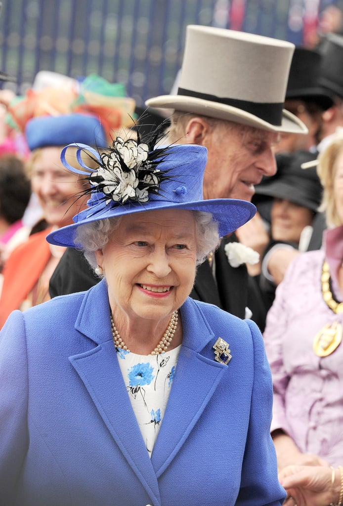 The queen stayed close to her man at the Diamond Jubilee Derby.