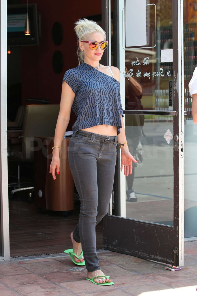 Gwen Stefani showed some skin during a visit to the nail salon ...