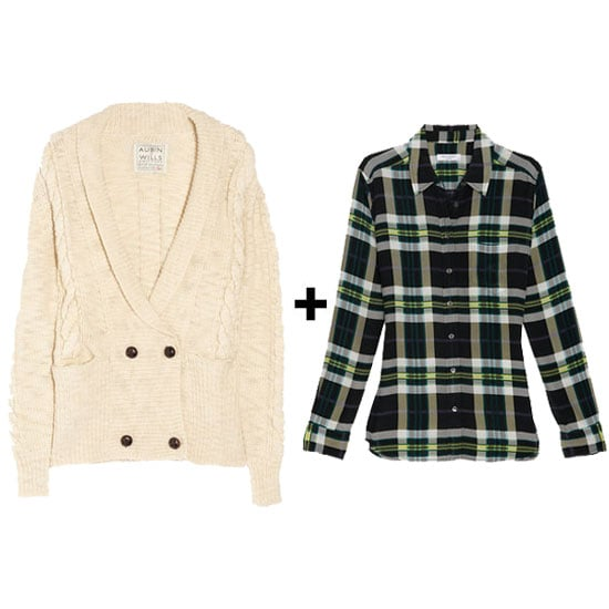 A cable-knit grandpa cardi and silk plaid top are ideal for pairing with skinny cords or a pair of sleek leather leggings.  Aubin & Wills Sheepmoor Cable-Knit Wool Cardigan ($150, originally $300) Equipment Oversize Plaid Print Brett Blouse ($248)
