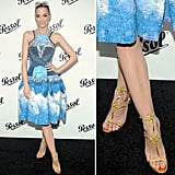 Jaime King wore the gold version of Christian Louboutin's Lady Max T-strap sandals with a bold printed Peter Pilotto number.