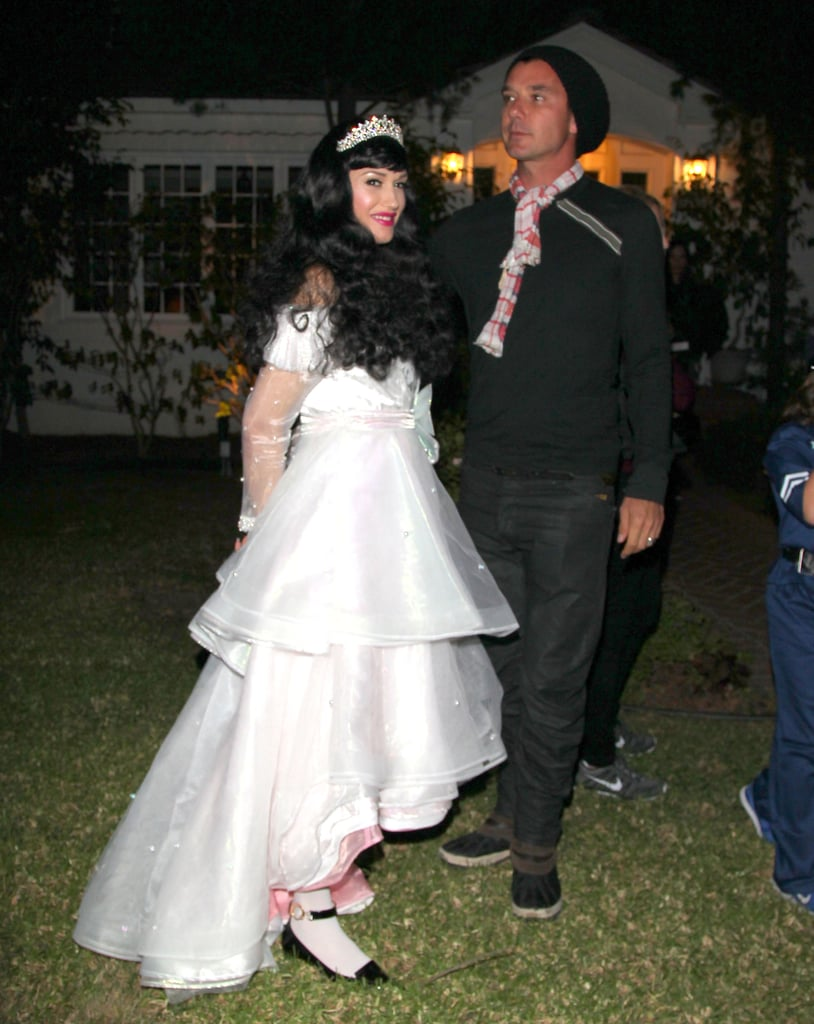 Gwen Stefani wore a white dress for Halloween fun in LA.