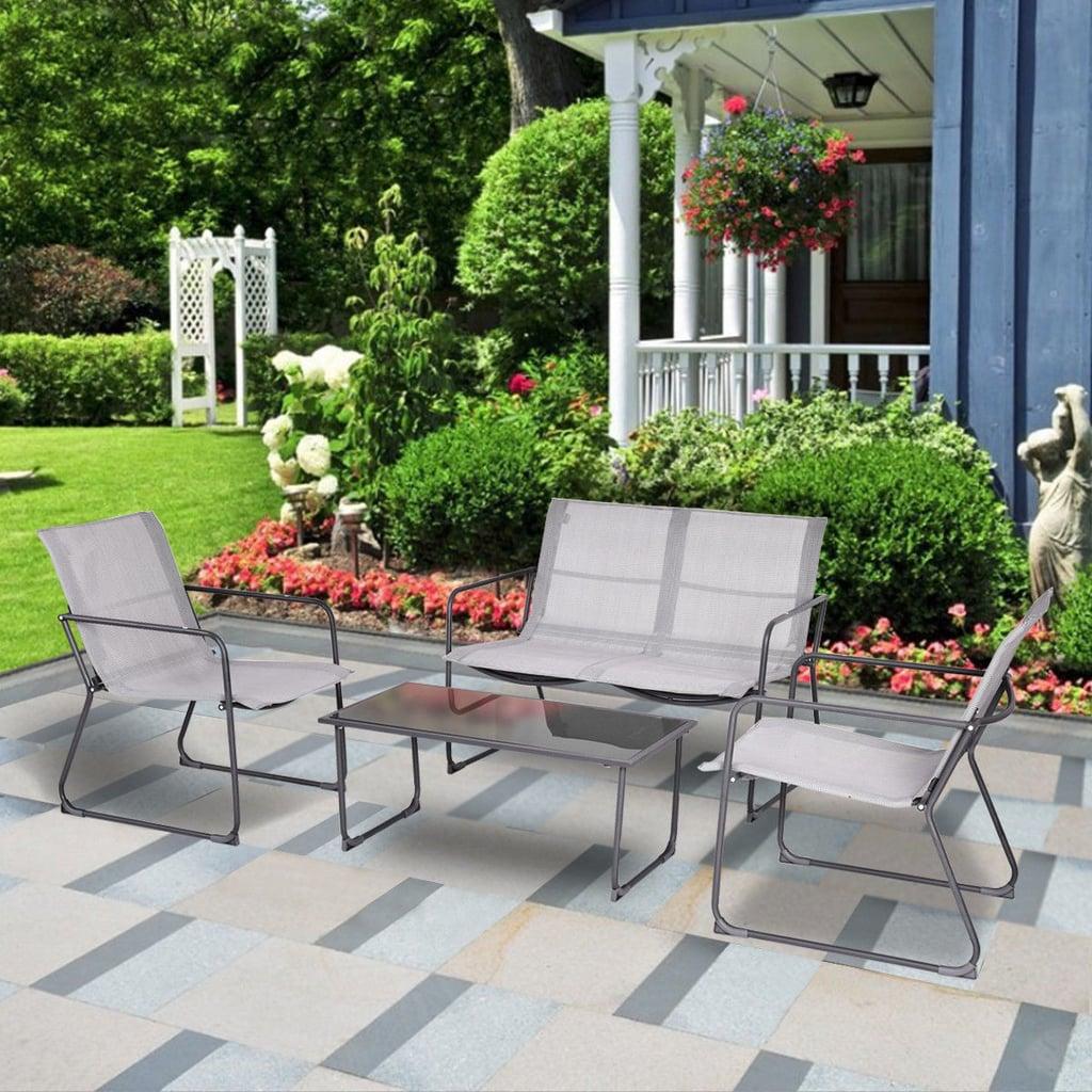 Gymax 4Pieces Furniture Set Outdoor Patio Conversation Set