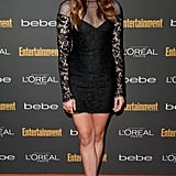 Analeigh Tipton went with a black Emilio Pucci mini-dress with sheer sleeves and equally snazzy sandals at the Entertainment Weekly pre-Emmys party in LA.