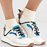 The latest must-have shoe collaboration: Adidas Originals by Alexander Wang — Leather, Suede and Ribbed Knit-Trimmed Mesh Sneakers — White ($230).