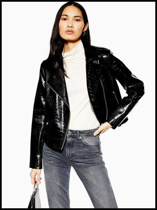 Topshop PU Faux Croc Short Jacket
