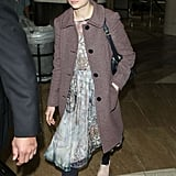 Michelle Williams wore a pretty dress and oxfords at the airport.