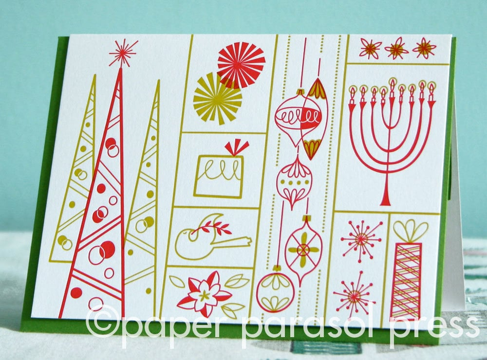 mid century retro letterpress holiday card 5