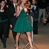 There's no doubt about it — Jennifer Lawrence can wear colour beautifully. We especially love the deep emerald hue of this dress (and how softly the pleats moved).
