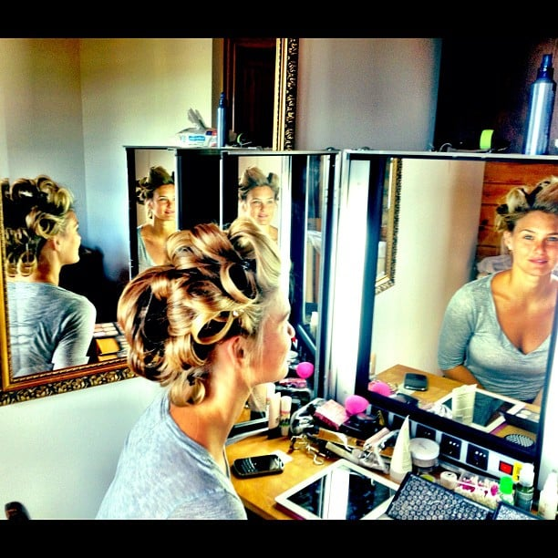 Bar Refaeli got prepped with hair and makeup before hitting the set. Source: Instagram user iambarrefaeli