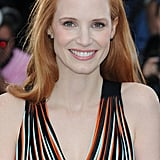 Jessica Chastain was fresh-faced and glowing at the Lawless photocall.