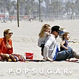 Nicole Richie and Joel Madden took Harlow and Sparrow to the beach in Malibu in April 2012.