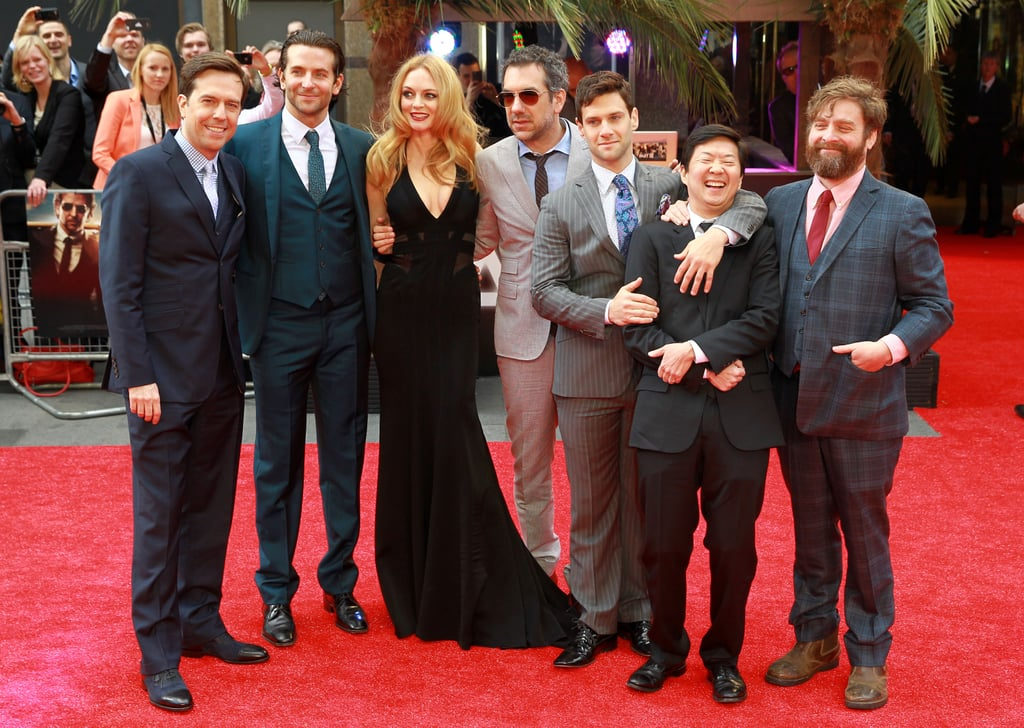 London got a large dose of star power on Wednesday when the cast of The Hangover hit the red carpet to premiere the third instalment of their franchise. Bradley Cooper, Justin Bartha, Ed Helms, Zach Galifianakis, Todd Phillips, Ken Jeong and Heather Graham met up in front of the cameras to pose for pictures and chat among themselves, flashing plenty of smiles along the way. It was their second big event of the week after also bringing the movie to LA on Monday. It looked like Zach was on his best behaviour in the UK following his funny antics at the West Coast premiere — Zach hopped into a car trunk before walking the carpet with his formerly homeless friend, Mimi Haist.