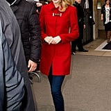 Taylor Looked Romantic in a Red Wool Coat and Sparkling Flats