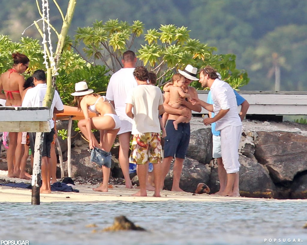 Miranda Kerr and husband Orlando Bloom were with Flynn at a gathering with friends on the beach in Bora Bora.