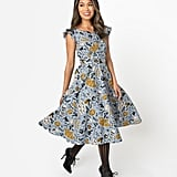 1950s Style Dusty Blue Halloween Print Judy Swing Dress