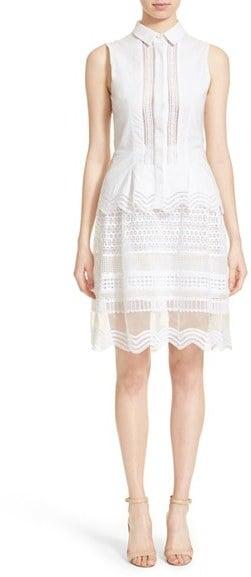 Jonathan Simkhai Lace Trim Oxford Ruffle Dress ($795)