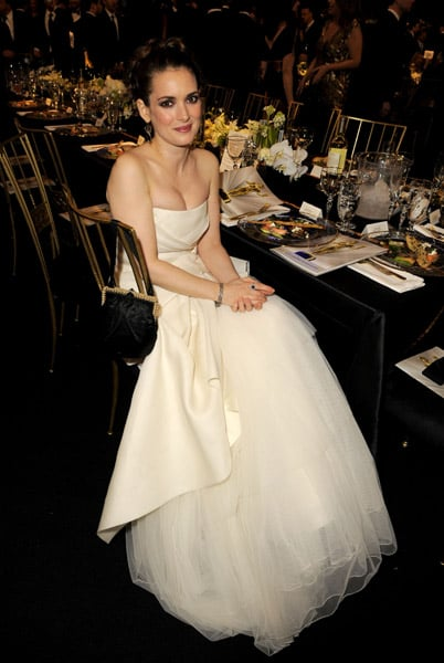 Winona Ryder's gown was poufy but contained while seated.