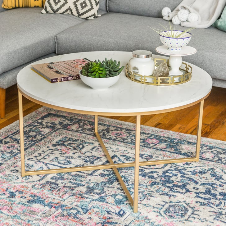 Walker Edison Round Coffee Table Review Popsugar Home