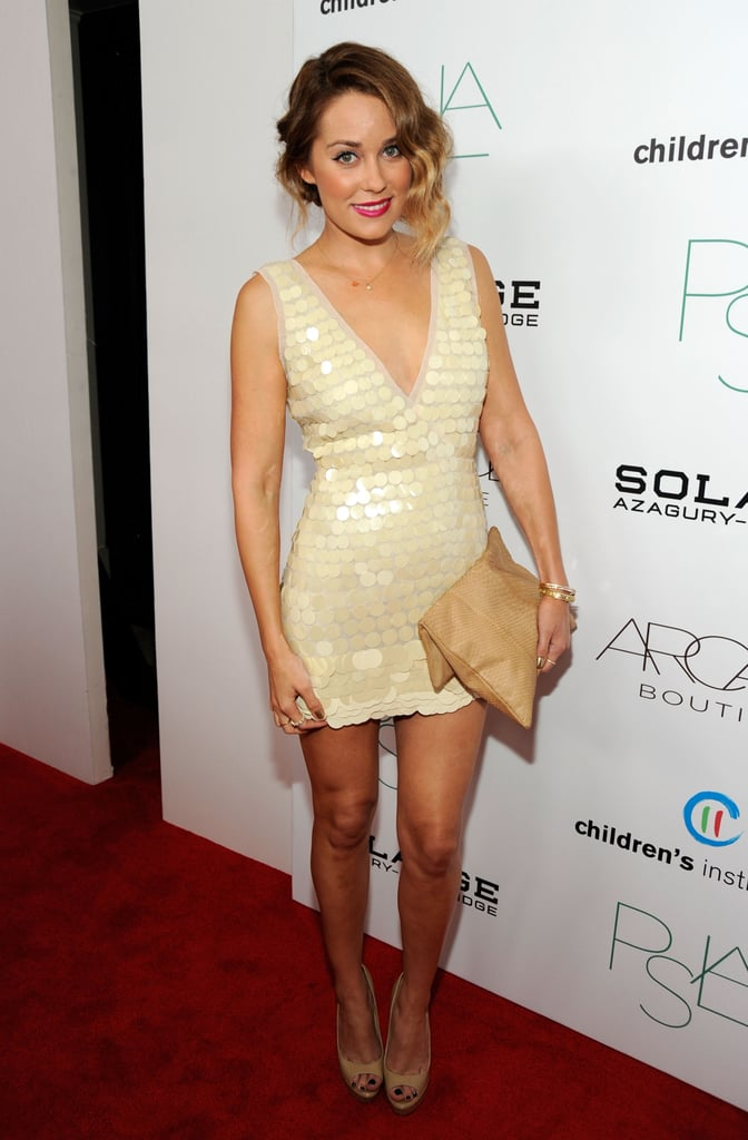 Lauren sported a pretty cream-colored BCBG Max Azria paillette frock for an event in 2011. Lesson from Lauren: don't be afraid to mix textures.