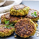 Oatmeal burgers with broccoli, carrots, and eggs