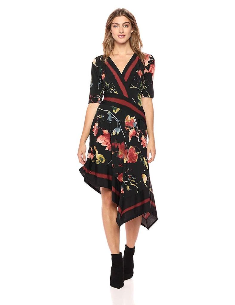 BCBGMaxAzria Floral Asymmetrical Faux Wrap Dress