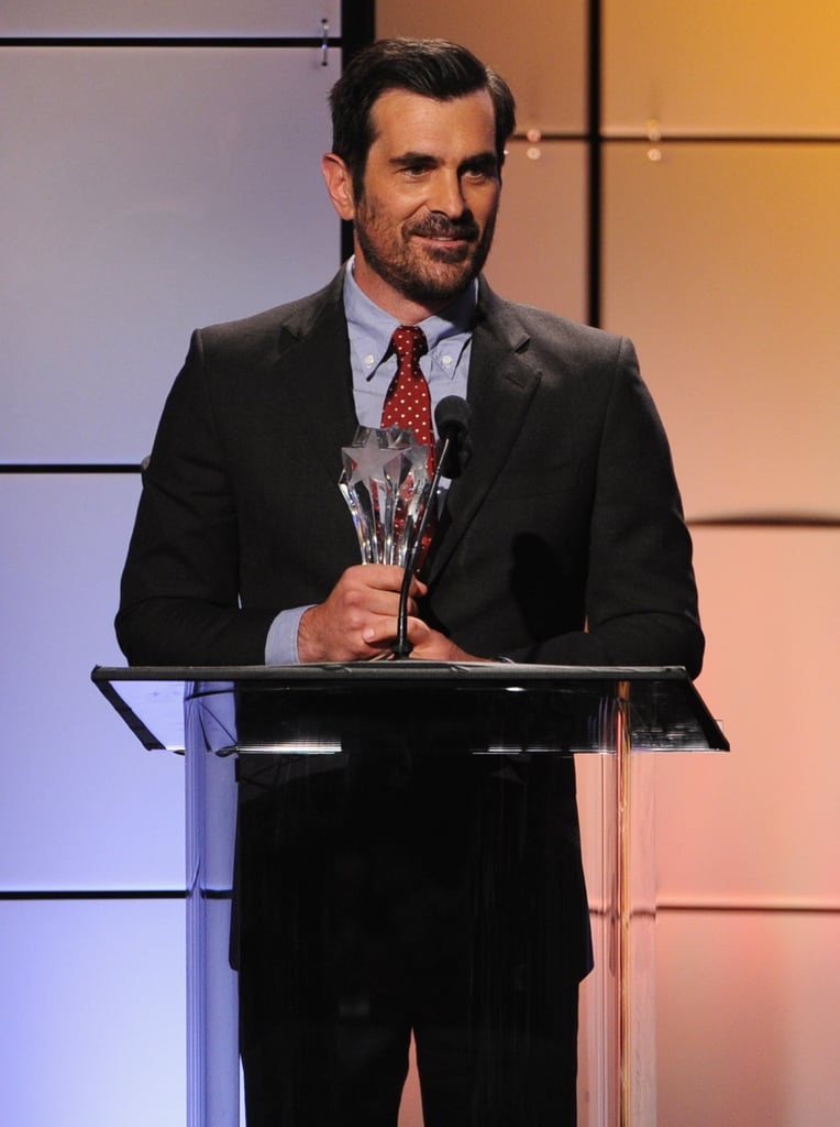 Ty Burrell had a smile while he accepted his award at the Critics' Choice Television Awards in LA.