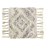 Cream and Gray Shag Indoor Outdoor Throw Pillow
