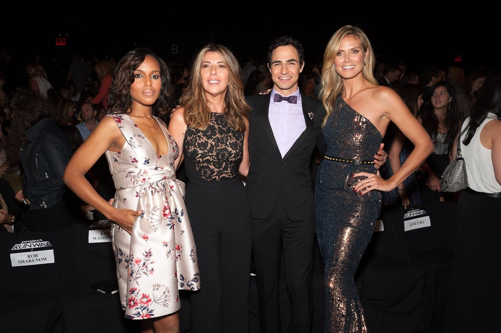 Kerry Washington posed in the front row with Project Runway judges Heidi Klum, Nina Garcia, and Zac Posen.