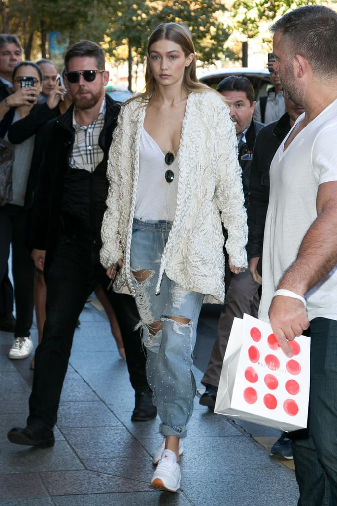 Gigi Hadid Wearing Reebok Sneakers Oct. 2016