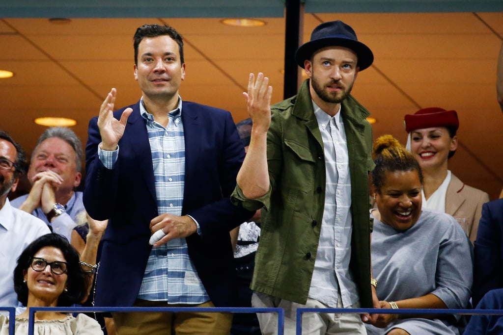 """Leave it to Jimmy Fallon and Justin Timberlake to bring some laughs to the US Open. The BFFs broke out into a full-on dance routine to Beyoncé's """"Single Ladies"""" while taking in Roger Federer's match during the tournament on Wednesday. As the song played, Justin and Jimmy did their best Queen Bey impressions, even showing off some of the same choreography from the music video — if you recall, Justin starred in a sketch with Beyoncé as one of her """"Single Ladies"""" backup dancers during his SNL hosting gig in 2009. We got to see even more of Justin and Jimmy's hilarious antics on Wednesday night when the singer made his triumphant return to The Tonight Show and performed the sixth installment of History of Rap. Keep reading for video and photos of the pair's US Open fun."""