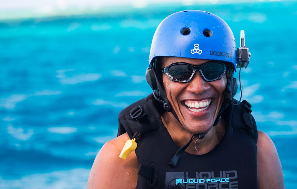 Barack Obama Kitesurfing in the Caribbean 2017 Pictures