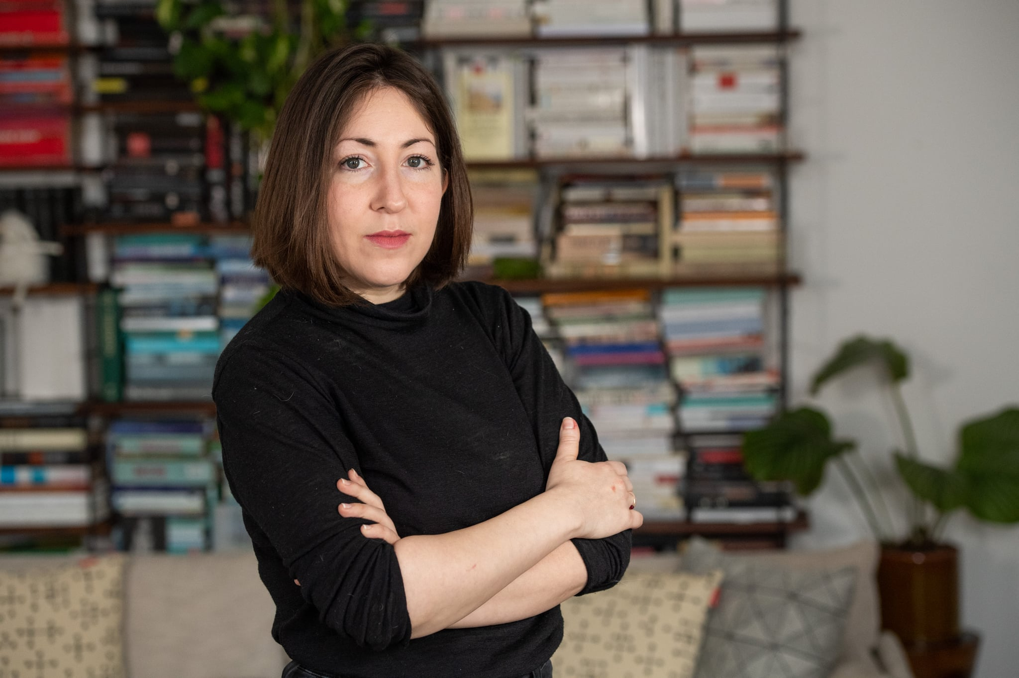 10 March 2020, Berlin: Deborah Feldman, author, is standing in her living room. Netflix shows the story of Ms. Feldman, who has fled an ultra-orthodox community in New York. Photo: Christophe Gateau/dpa (Photo by Christophe Gateau/picture alliance via Getty Images)