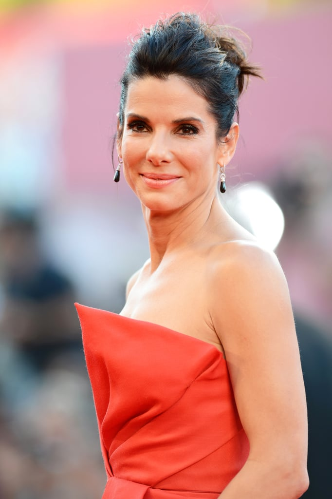 For the Gravity premiere, Sandra opted for a teased updo with a classic smoky eye.